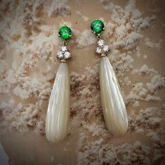 Michael Kneebone Michael Kneebone Tsavorite Garnet Diamond Mother of Pearl Dangle Earrings - 1467333