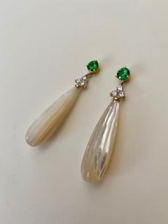 Michael Kneebone Michael Kneebone Tsavorite Garnet Diamond Mother of Pearl Dangle Earrings - 1467335