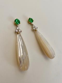 Michael Kneebone Michael Kneebone Tsavorite Garnet Diamond Mother of Pearl Dangle Earrings - 1467337
