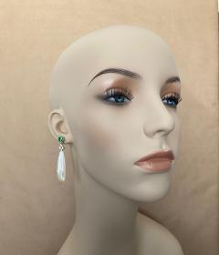 Michael Kneebone Michael Kneebone Tsavorite Garnet Diamond Mother of Pearl Dangle Earrings - 1467340