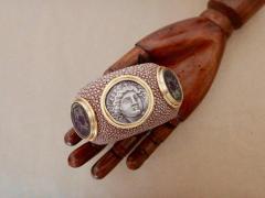 Michael Kneebone Michael Kneebone Venerable Three Coin Shagreen Cuff Bracelet - 1021618