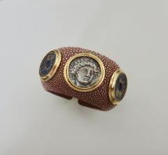 Michael Kneebone Michael Kneebone Venerable Three Coin Shagreen Cuff Bracelet - 1021619
