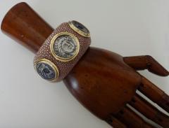 Michael Kneebone Michael Kneebone Venerable Three Coin Shagreen Cuff Bracelet - 1021620