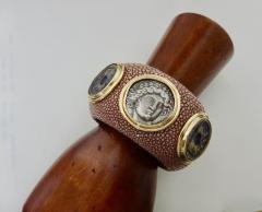 Michael Kneebone Michael Kneebone Venerable Three Coin Shagreen Cuff Bracelet - 1021622