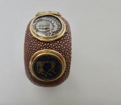 Michael Kneebone Michael Kneebone Venerable Three Coin Shagreen Cuff Bracelet - 1021623