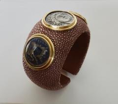 Michael Kneebone Michael Kneebone Venerable Three Coin Shagreen Cuff Bracelet - 1021625