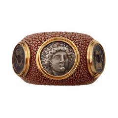 Michael Kneebone Michael Kneebone Venerable Three Coin Shagreen Cuff Bracelet - 1022330