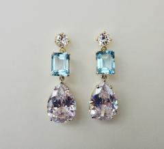 Michael Kneebone Michael Kneebone White Sapphire Blue Zircon White Topaz Dangle Earrings - 1230435