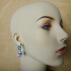 Michael Kneebone Michael Kneebone White Sapphire Blue Zircon White Topaz Dangle Earrings - 1230444