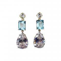 Michael Kneebone Michael Kneebone White Sapphire Blue Zircon White Topaz Dangle Earrings - 1231064