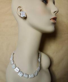 Michael Kneebone Michael Kneebone White Tile Pearl Earring Necklace Suite - 997700