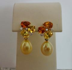 Michael Kneebone Michael Kneebone Yellow Sapphire Topaz Citrine Diamond Pearl Confetti Earrings - 1187873
