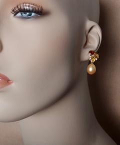 Michael Kneebone Michael Kneebone Yellow Sapphire Topaz Citrine Diamond Pearl Confetti Earrings - 1187874