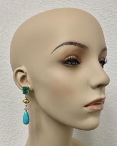 Michael Kneebone Michael Kneebone Zambian Emerald Diamond Persian Turquoise Dangle Earrings - 1939883