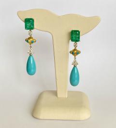 Michael Kneebone Michael Kneebone Zambian Emerald Diamond Persian Turquoise Dangle Earrings - 1939884