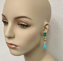 Michael Kneebone Michael Kneebone Zambian Emerald Diamond Persian Turquoise Dangle Earrings - 1939885