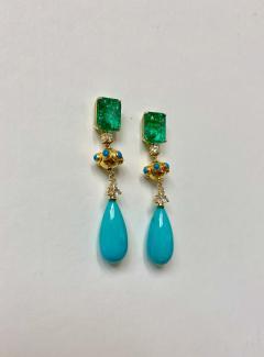 Michael Kneebone Michael Kneebone Zambian Emerald Diamond Persian Turquoise Dangle Earrings - 1939886