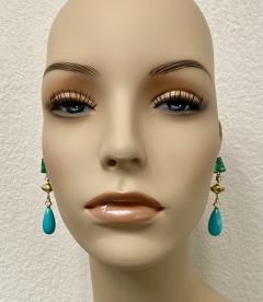 Michael Kneebone Michael Kneebone Zambian Emerald Diamond Persian Turquoise Dangle Earrings - 1939887