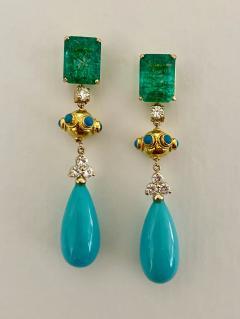 Michael Kneebone Michael Kneebone Zambian Emerald Diamond Persian Turquoise Dangle Earrings - 1939888