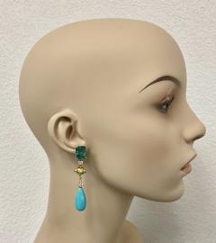 Michael Kneebone Michael Kneebone Zambian Emerald Diamond Persian Turquoise Dangle Earrings - 1939889