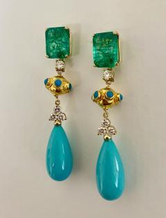 Michael Kneebone Michael Kneebone Zambian Emerald Diamond Persian Turquoise Dangle Earrings - 1939890
