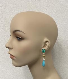 Michael Kneebone Michael Kneebone Zambian Emerald Diamond Persian Turquoise Dangle Earrings - 1939891