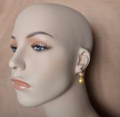 Michael Kneebone Yellow Sapphire Golden South Seas Pearl 18K Yellow Gold Dangle Earrings - 1155112