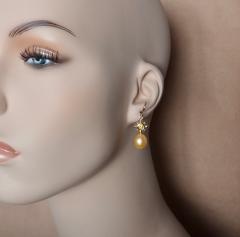 Michael Kneebone Yellow Sapphire Golden South Seas Pearl 18K Yellow Gold Dangle Earrings - 1155116