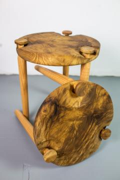 Michael Rozell Pair of Side Tables in White Oak Burl Top by Michael Rozell - 1412052