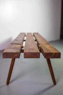 Michael Rozell Studio Slat Bench by Michael Rozell in Walnut and White Oak Inlays - 1440165