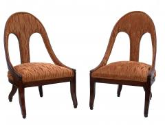 Michael Taylor Pair of Michael Taylor for Baker Mid century Spoon Back Slipper Lounge Chairs - 1752972