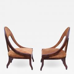 Michael Taylor Pair of Michael Taylor for Baker Mid century Spoon Back Slipper Lounge Chairs - 1753774