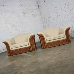 Michael Taylor Rattan wicker pair of oversized lounge chairs manner of michael taylor - 2066153