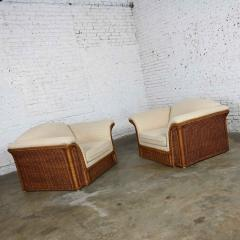 Michael Taylor Rattan wicker pair of oversized lounge chairs manner of michael taylor - 2066154
