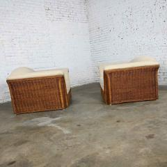 Michael Taylor Rattan wicker pair of oversized lounge chairs manner of michael taylor - 2066158