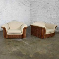 Michael Taylor Rattan wicker pair of oversized lounge chairs manner of michael taylor - 2066179