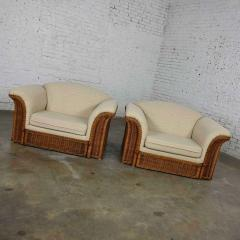 Michael Taylor Rattan wicker pair of oversized lounge chairs manner of michael taylor - 2066180