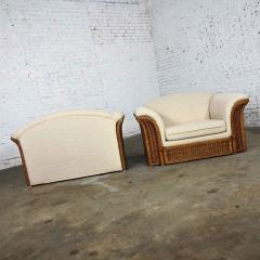Michael Taylor Rattan wicker pair of oversized lounge chairs manner of michael taylor - 2066182