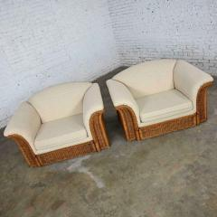 Michael Taylor Rattan wicker pair of oversized lounge chairs manner of michael taylor - 2066191