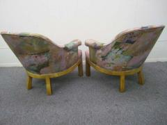 Michael Taylor Spectacular Pair of Mid Century Modern Barrel Back Club Chairs Asian Influenced - 1843670
