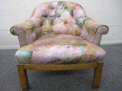 Michael Taylor Spectacular Pair of Mid Century Modern Barrel Back Club Chairs Asian Influenced - 1843674