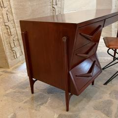 Michael van Beuren 1950s Refined Floating Desk Mexican Mahogany Fabulous Form Tall Tapered Legs - 2030754