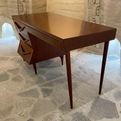 Michael van Beuren 1950s Refined Floating Desk Mexican Mahogany Fabulous Form Tall Tapered Legs - 2030755