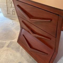 Michael van Beuren 1950s Refined Floating Desk Mexican Mahogany Fabulous Form Tall Tapered Legs - 2030762