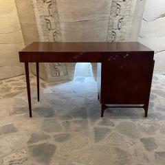 Michael van Beuren 1950s Refined Floating Desk Mexican Mahogany Fabulous Form Tall Tapered Legs - 2030767
