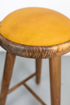Micheal Rozell Pair of Michael Rozell Studio Bar Stools Figured Walnut and Leather - 1460295