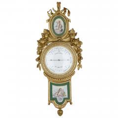 Michel Balthazar Gilt bronze and porcelain clock and barometer set by Michel Balthazar - 1459608