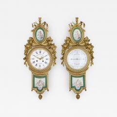 Michel Balthazar Gilt bronze and porcelain clock and barometer set by Michel Balthazar - 1461850