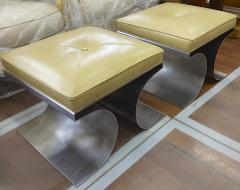 Michel Boyer Michel Boyer iconic pair of bruised steel and leather stool - 1415758
