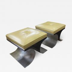 Michel Boyer Michel Boyer iconic pair of bruised steel and leather stool - 1420127